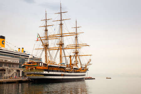 tall ship: TRIESTE, ITALY - MAY 15: The Amerigo Vespucci is a tall ship of the Navy, named after the explorer Amerigo Vespucci on May 15, 2016