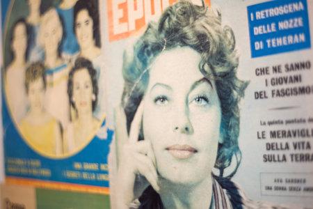 sophia: View of Sophia Loren portrait on old Italian magazine