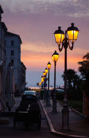 night vision: View of street lantern illuminated in Trieste, Italy