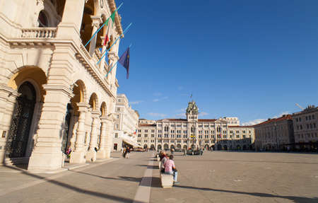 trieste: TRIESTE, ITALY - MAY, 04: View of the central Trieste square on May 04, 2016