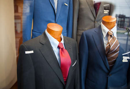 tailored: Close up of male suit exposed in the clothes shop