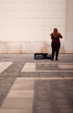 violinist: TRIESTE, ITALY - MAY, 14: Female violinist playing in the street on May 14, 2016 Editorial