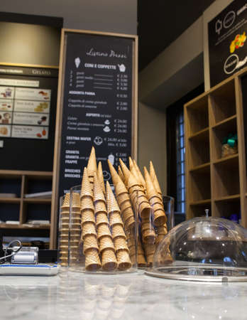 parlor: Cones exposed in the ice-cream parlor