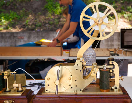 telegraphy: Close up of ancient telegraph on the wooden table Stock Photo