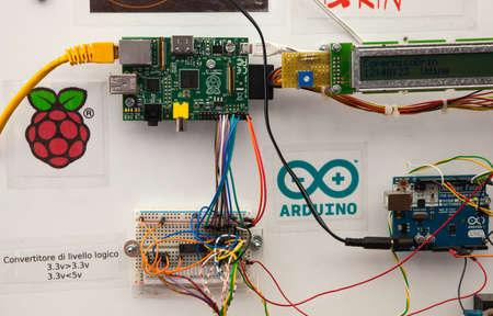 trieste: TRIESTE, ITALY - MAY, 21: Close up of Arduino the electronic prototyping platform and Raspberry single-board computer on May 21, 2016