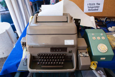Close up of ancient telex on the table