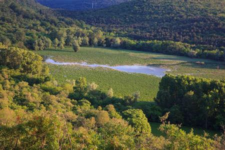 View of Lake Doberdo sinkhole in the Province of Gorizia, Friuli-Venezia Giulia, Italy