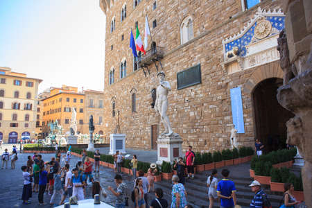 signoria square: FLORENCE, ITALY - JULY, 12: View of the David of Michelangelo in the Signoria square on July 12, 2016