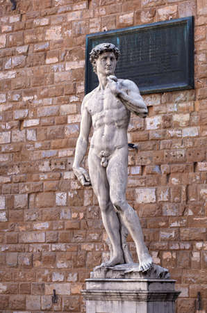 michelangelo: View of the David of Michelangelo in Florence,  Tuscany. Italy
