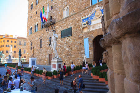 michelangelo: FLORENCE, ITALY - JULY, 12: View of the David of Michelangelo in the Signoria square on July 12, 2016