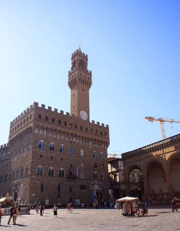 FLORENCE, ITALY - JULY, 12: The Palazzo Vecchio in the Signoria square on July 12, 2016