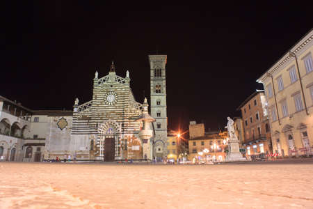 nightview: PRATO, ITALY - Nightview of the Prato Cathedral Stock Photo