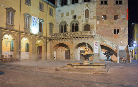 nightview: PRATO, ITALY - JULY, 11: Nightview of the Comune square on July 11, 2016 Editorial