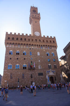 signoria square: FLORENCE, ITALY - JULY, 12: The Palazzo Vecchio in the Signoria square on July 12, 2016