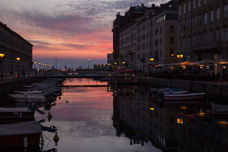 ponte: View of Ponte rosso in Trieste at sunset, Italy Editorial