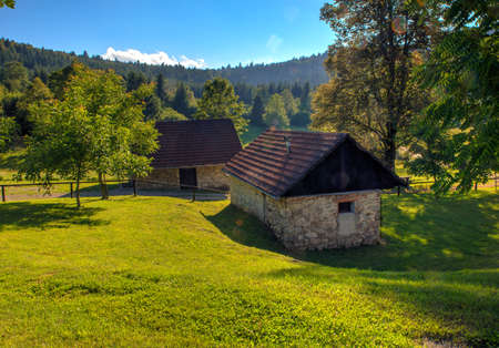 mountain hut: View of mountain hut in the Ko?evski Rog also called Ko?evje Rog, Slovenia Stock Photo