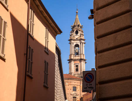 belltower: View of the belltower of the San Gaudenzio Basilica in Novara, Italy.