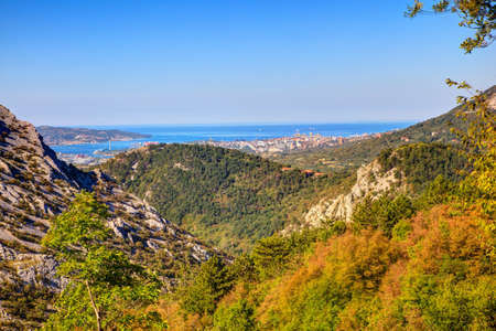 View of Val Rosandra and Trieste from Stena mountain