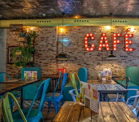 chabby: Interior of a vintage coffee bar in Spain