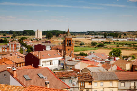 belltower: View of church belltower and Astorga houses, Spain Stock Photo