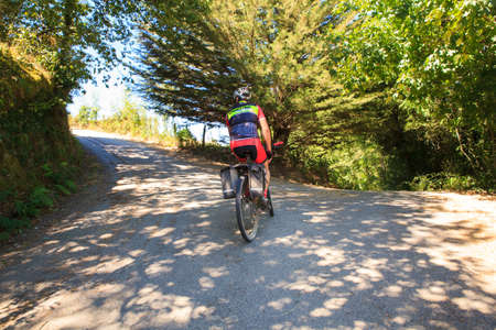 way of st james: GALICIA, SPAIN - AUGUST, 10: Pilgrimn bike along the way of St. James on 10, 2016