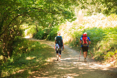 way of st james: GALICIA, SPAIN - AUGUST, 10: Pilgrimns along the way of St. James on 10, 2016 Editorial