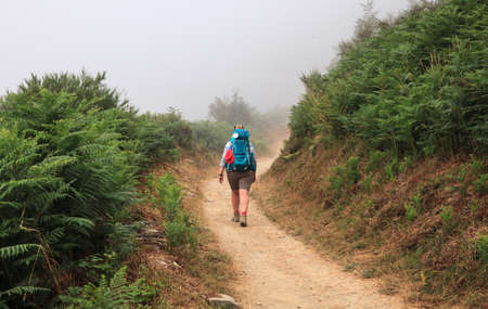 way of st james: CEBREIRO, SPAIN - AUGUST, 09: Pilgrimn along the way of St. James on August 09, 2016 Editorial