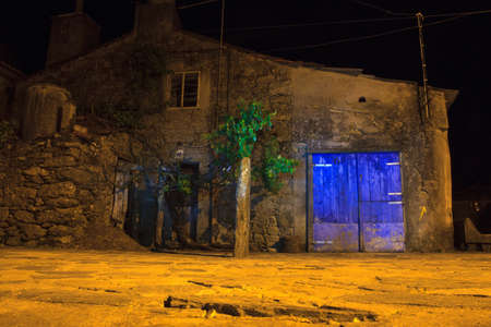 nightview: Nightview of old rural house in the little spanish town
