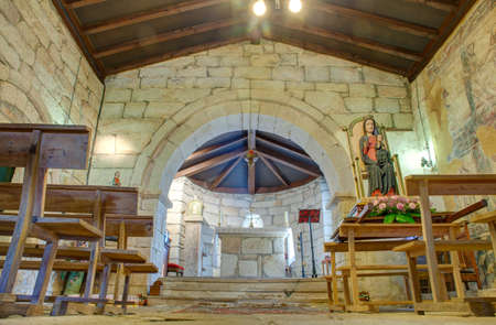 Interior of the church of Santa Maria de Leboreiro, Spain Editorial