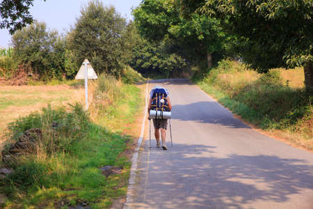 way of st james: PALAS DE REY, SPAIN - AUGUST, 13: Pilgrimn along the way of St. James on August 13, 2016 Editorial