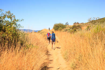 RABANAL, SPAIN - AUGUST, 05: Pilgrimns along the way of St. James on August 05, 2016