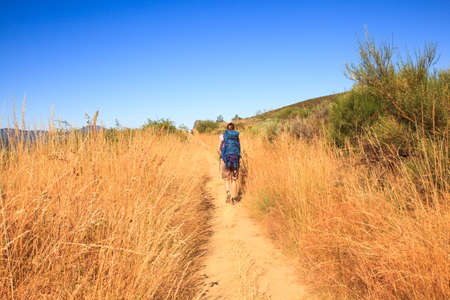 RABANAL, SPAIN - AUGUST, 05: Pilgrimn along the way of St. James on August 05, 2016 Editorial