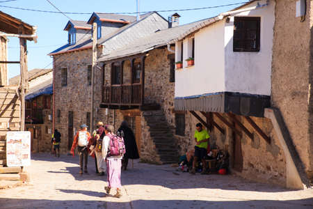 EL ACEBO DE SAN MIGUEL, SPAIN - AUGUST, 05: Pilgrimns along the way of St. James on August 05, 2016