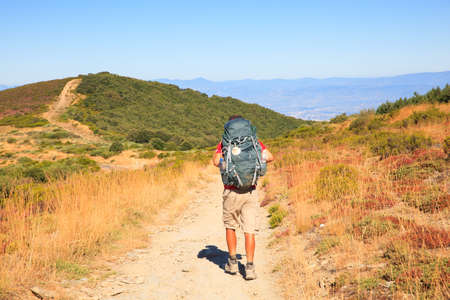 way of st james: RABANAL, SPAIN - AUGUST, 05: Pilgrimn along the way of St. James on August 05, 2016 Editorial