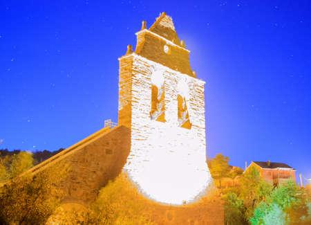 magdalena: Nightview of the Parish Church of Santa Maria Magdalena of Riego de Ambros