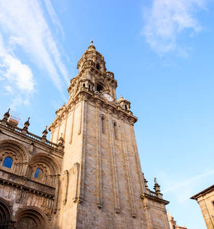 View of the belltower of the Santiago cathedral, called North Tower or da Carraca. Spain