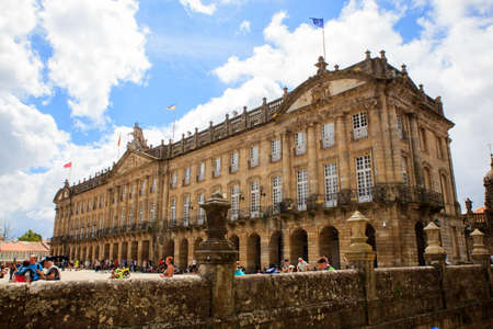 SANTIAGO, SPAIN - AUGUST, 17: View of the Raxoi Palace in Santiago de Compostela on August 17, 2016