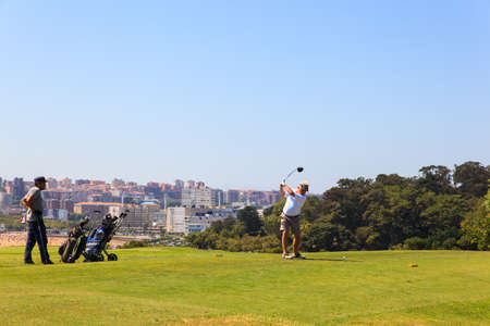 golfcourse: SANTANDER, SPAIN - AUGUST, 22: Man playing golf on August 22, 2016