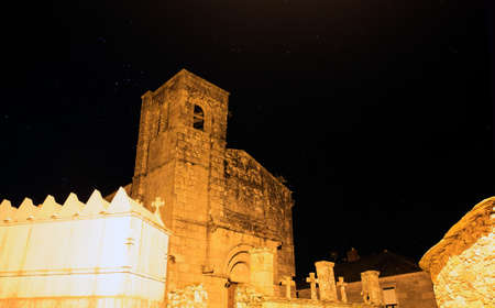 nightview: Nightview of the Santiago church in Barbadelo, Spain Stock Photo