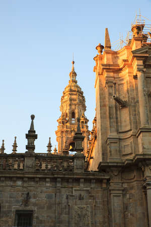 View of the belltower of the Santiago cathedral, Spain