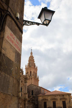 belltower: View of the belltower of the Santiago cathedral, Spain