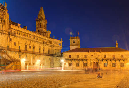 nightview: Nightview of the Santiago cathedral, Galicia. Spain