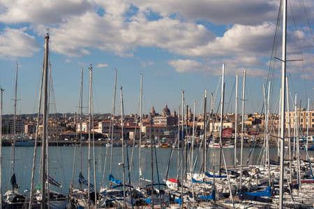 View of Catania from harbor, Sicily. Italy Stock Photo