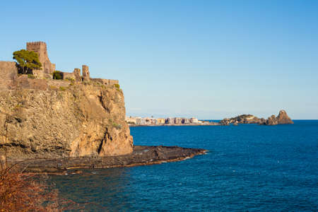 View of the norman castle of Acicastello, Italy Stock Photo