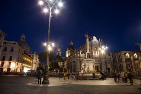 CATANIA, ITALY - JANUARY, 01: View of Catania cathedral and church of the abbey of Sant Agata on January 01, 2017
