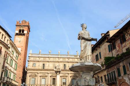 View of the Piazza delle Erbe, the Markets square in Verona