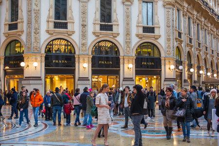 MILAN, ITALY - FEBRUARY, 26: Shop windows of Prada store in the Vittorio Emanuele II gallery on february 26, 2017