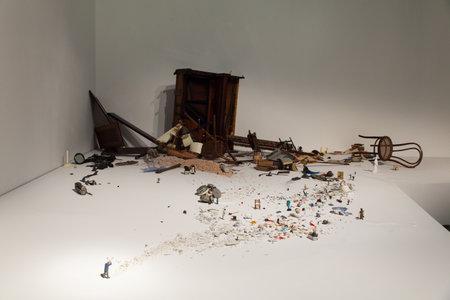 otras: VENICE, ITALY - MAY, 10: Installation view of work by Liliana Porter, El Hombre con el hacha y otras situaciones breves at the 57th Venice Biennale in the Korea pavilion on May 10, 2017