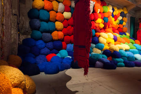 VENICE, ITALY - MAY, 10: Installation view of work by Sheila Hicks's Escalade Beyond Chromatic Lands at the 57th Venice Biennale on May 10, 2017