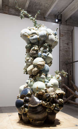 VENICE, ITALY - MAY, 10: Installation view of work by Yee Sookyung,